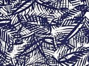 Baumwollsatin wilde Blätter dunkelblau weiß