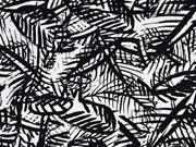 Baumwollsatin wilde Blätter schwarz weiß