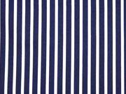 RESTSTÜCK 49 cm Baumwollsatin Streifen längs dunkelblau weiß