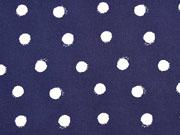 Baumwollsatin Punkte, weiss dunkelblau