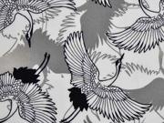 Viskose Kraniche Vögel weiss schwarz
