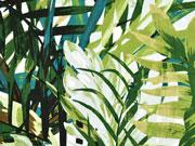 Viskosejersey Farn Blätter grün braun