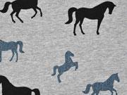 Sweatstoff Pferde Glitzer , jeansblau grau