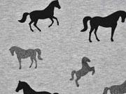 angerauter Sweat Glitzer Pferde, schwarz grau