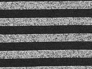 glattes Bündchen Glitzer Streifen, schwarz silber