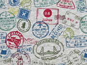 RESTSTÜCK 83 cm angerauter Sweat Briefmarken, dunkelmint weinrot