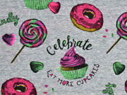 Jersey Digitaldruck Donuts Cupcakes, grau meliert