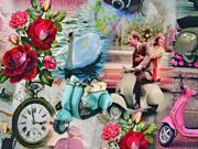RESTSTÜCK 37 cm Jersey Digitaldruck, Scooter Love Vespa vintage Look