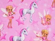 Jersey Einhorn Elfe Digitaldruck, rosa