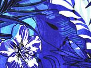 Reststück 113cm Viskosejersey großer Blumen Druck, blau