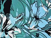 Viskosejersey Blumen, mintgrün hellblau