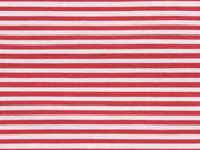 Baumwolle Stretch Streifen schmal, mattes rot