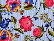 RESTSTÜCK 67 cm Viskose schmale Streifen Blumen, hellblau weiss