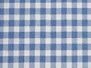 Jeansstoff Karomuster, cremeweiß helles jeansblau