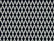 RESTSTÜCK 60 cm Stretchstoff Hosenstoff Rauten Gitternetz, schwarz weiss
