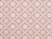 Baumwolle Blumen Quadrate Punkte, altrosa