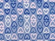 Jersey Kreide-Herzen, jeansblau