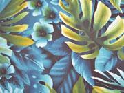 Chiffon Palmenblätter Blumen petrol türkis
