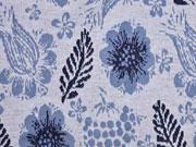 RESTSTÜCK 79 cm Jacquard Strickjersey Blumen Blätter jeansblau