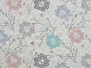 Organic Sweat Zweige Blumen, hellgrau melange