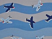 Jersey Flugzeuge Wellen, jeansblau