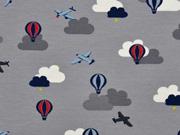 Jersey Flugzeuge Heißluftballons, grau