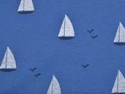 Jersey Segelboote, weiss jeansblau