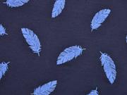 Jersey Federn Puff Print, blau dunkelblau