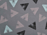 Jersey gemusterte Dreiecke, grau hellblau