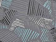 Jersey diagonale Linien, grau blau