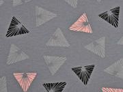 RESTSTÜCK 30 cm Jersey gemusterte Dreiecke, grau altrosa