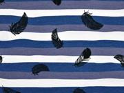 Jersey Streifen mit Federn, dunkelblau grau weiss
