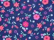 Jersey Blumen Blätter, bunt marineblau