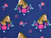 Jersey Pferde Blumen, bunt marineblau