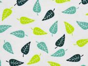 Jersey kleine Blätter, mint petrol weiss