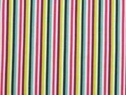 Jersey Streifen längs, mint petrol pink weiss