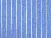 RESTSTÜCK 134 cm Jeansstoff Nadelstreifen, jeansblau weiss