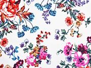 Baumwollsatin Stretch Blumen, weiss