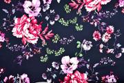 Baumwollsatin Stretch Blumen, dunkelblau