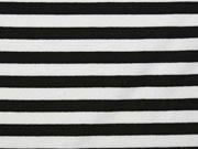 RESTSTÜCK 80 cm Vi-Jersey Punto di Roma Streifen, schwarz weiss