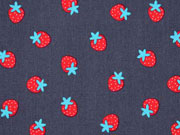 Baumwollstoff Erdbeeren, rot dunkelgrau