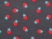 RESTSTÜCK 52 cm Jersey Erdbeeren, dunkelgrau