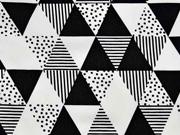 Baumwolle gemusterte Dreiecke, weiß schwarz