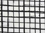 Baumwollstoff Gitter, weiß schwarz