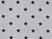 Baumwollstoff Sterne, schwarz grau