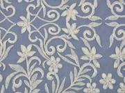 Organza Stickerei Blätter Blumen, cremeweiß