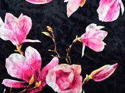 Elastischer Samtjersey Blumen, pink schwarz