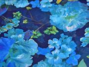 Chiffon Blumen, dunkelblau mittelblau