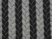 Jacquard Jersey Zopfmuster, schwarz grau melange