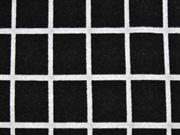 Jacquard Jersey Karomuster Gitternetz, schwarz meliert